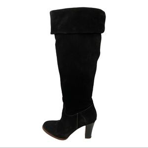 Geox Black Suede Knee High Heeled Boots Size 40